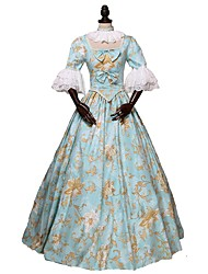 cheap -Rococo Victorian Costume Women's Adults' Outfits Blue Vintage Cosplay 100% all-natural ingredients 3/4 Length Sleeves Puff/Balloon Ankle