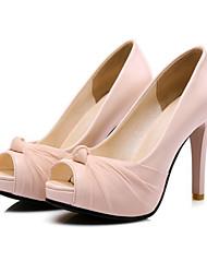 preiswerte -Damen Schuhe PU Frühling Sommer Komfort Neuheit High Heels Stöckelabsatz Peep Toe für Hochzeit Party & Festivität Schwarz Beige Grau Rosa