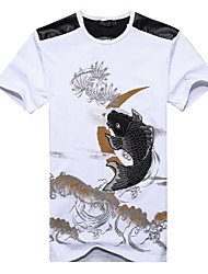 cheap -Men's Chinoiserie Cotton T-shirt Print Round Neck