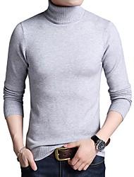 Недорогие -Муж. Офис Длинный рукав Пуловер - Сплошной цвет Хомут