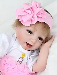 Недорогие -NPK DOLL Куклы реборн Дети 22 дюймовый Силикон / Винил - как живой, Ручные прикладные ресницы, Гофрированные и запечатанные ногти Детские Универсальные Подарок / CE / Естественный тон кожи