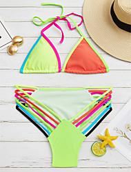 baratos -Mulheres Nadador Biquíni - Estampa Colorida