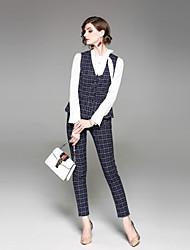 abordables -Mujer Trabajo Camisa - Cuadrícula Pantalón