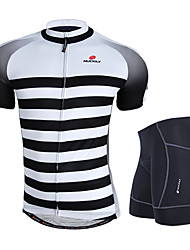 cheap -Nuckily Men's Short Sleeves Cycling Jersey with Shorts - Gray Geometic Bike Clothing Suits, Anatomic Design, Breathable, Reflective