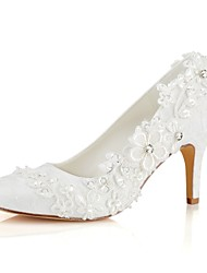 cheap -Women's Shoes Stretch Satin Spring / Fall Basic Pump Wedding Shoes Stiletto Heel Round Toe Crystal / Pearl Ivory / Party & Evening