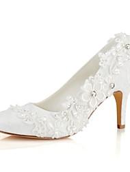 preiswerte -Damen Schuhe Stretch - Satin Frühling / Herbst Pumps Hochzeit Schuhe Stöckelabsatz Runde Zehe Kristall / Perle Elfenbein