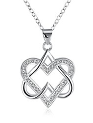 cheap -Women's Heart Cubic Zirconia Zircon Silver Plated Pendant Necklace Chain Necklace - Fashion Lovely Sweet Irregular Heart Silver Necklace