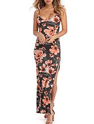 cheap -Women's Beach Sheath Dress - Floral, Split High Waist Maxi Strap