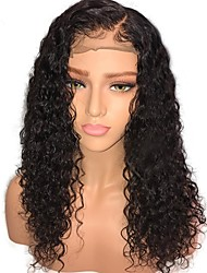 cheap -Human Hair Lace Front Wig Mongolian Hair Curly Jerry Curl With Baby Hair Unprocessed Middle Part Natural Hairline Medium 130% Density