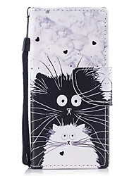 cheap -Case For Sony Sony Xperia XA Xperia XZ1 Compact Xperia XZ1 Card Holder Wallet with Stand Flip Magnetic Pattern Full Body Cases Cat Hard
