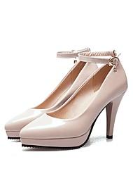 preiswerte -Schuhe Lackleder Frühling Herbst Pumps High Heels Stöckelabsatz Spitze Zehe Geschlossene Spitze Schnalle für Kleid Mandelfarben