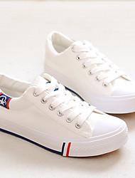 preiswerte -Damen Schuhe Leinwand Frühling Herbst Komfort Sneakers Flacher Absatz Runde Zehe für Normal Weiß Schwarz Rot