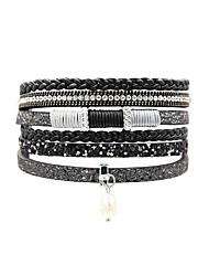 billige -Dame Wrap Armbånd - Perle, Læder Vintage, Bohemisk, Boheme Armbånd Blå / Lys pink / Lyseblå Til Ferie I-byen-tøj
