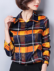 cheap -Women's Going out Sophisticated Spring Shirt,Print Shirt Collar Long Sleeve Polyester Medium