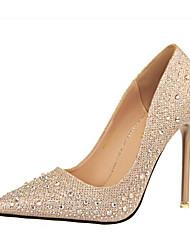 preiswerte -Damen Schuhe Glitzer PU Frühling Komfort Pumps High Heels Stöckelschuh Spitze Zehe Geschlossene Spitze Strass Glitter für Party &