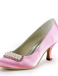 preiswerte -Damen Schuhe Seide Frühling Sommer Pumps Hochzeit Schuhe Stöckelabsatz Geschlossene Spitze Strass Imitationsperle für Hochzeit Party &