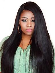 preiswerte -Echthaar Spitzenfront Perücke Malaysisches Haar Glatt Mit Strähnen 250% Dichte Natürlicher Haaransatz Medium Lang Damen Echthaar Perücken