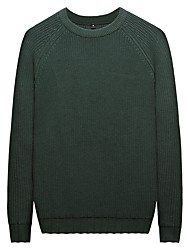 cheap -Men's Long Sleeves Pullover - Solid Color Round Neck