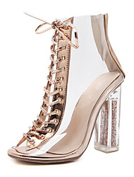 cheap -Women's Shoes Leatherette Spring Fall Comfort Novelty Fashion Boots Bootie Sandals Crystal Heel for Wedding Gold
