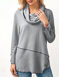 economico -T-shirt Per donna Tinta unita A collo alto - Cotone