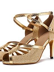 cheap -Latin Leatherette Net Sandal Heel Splicing Customized Heel Gold Customizable