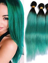 cheap -Guanyuwigs® 3Bundles Ombre Green Color Straight Hair 100G/Bundle 8A Ombre Brazilian Hair Straight 1B/Green Ombre Virgin Human Hair Weaves