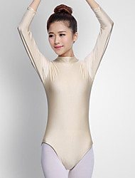 cheap -Ballet Leotards Women's Performance Spandex Pleated Long Sleeve Natural Leotard