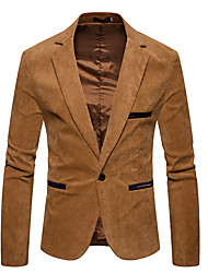 abordables -Hombre Casual Diario Noche Primavera Otoño Tallas Grandes Regular Blazer, Cuello Camisero Un Color Licra