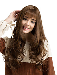 cheap -Synthetic Wig Deep Wave With Bangs Density Capless Women's Brown Natural Wigs Very Long Synthetic Hair