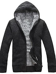 cheap -Men's Going out Simple Solid Hooded Cardigan, Long Sleeves Winter Fall Nylon