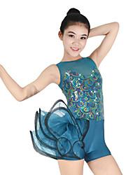 cheap -Jazz Leotards Women's Performance Spandex Elastic Paillette Ruched Cascading Ruffles Sleeveless Natural Leotard / Onesie Headwear