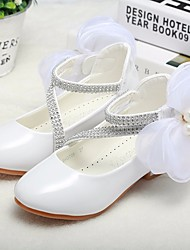 cheap -Girls' Shoes Patent Leather Spring Fall Tiny Heels for Teens Flower Girl Shoes Comfort Heels for Casual White Black Pink