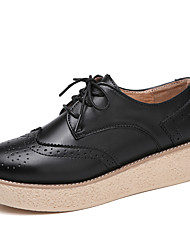 cheap -Women's Shoes PU Spring Fall Comfort Flats Walking Shoes Flat Heel Round Toe Lace-up for Casual Office & Career Black Brown Pink