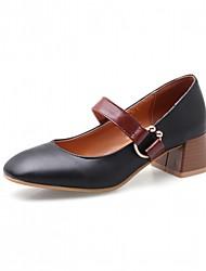 baratos -Mulheres Sapatos Courino Primavera / Outono Conforto / Inovador Saltos Salto Robusto Ponta quadrada Presilha Preto / Rosa claro / Amêndoa