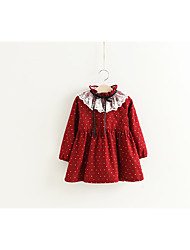 cheap -Girl's Birthday Daily Solid Polka Dot Dress, Cotton Polyester Winter Fall Long Sleeves Casual Active Red Navy Blue Yellow