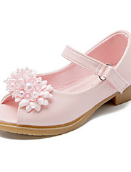 cheap -Girls' Shoes PU Spring / Summer Comfort / Novelty / Flower Girl Shoes Heels Beading / Appliques / Buckle for White / Pink / Peep Toe