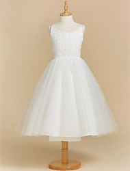 cheap -Ball Gown Tea Length Flower Girl Dress - Lace Tulle Sleeveless Scoop Neck with Appliques by LAN TING BRIDE®