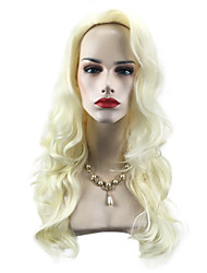 cheap -Synthetic Wig Curly / Body Wave Blonde Synthetic Hair Natural Hairline / Side Part Blonde Wig Long Capless Light Blonde