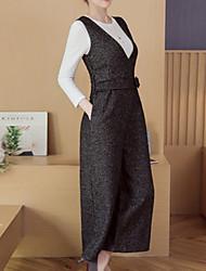 abordables -Femme Coton Set - Couleur Pleine, énorme Pantalon