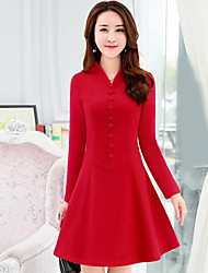 cheap -Women's Going out Simple A Line Dress,Color Block V Neck Above Knee Long Sleeve Cotton Spring Fall Mid Rise Micro-elastic Opaque