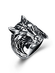 cheap -Men's Statement Ring - Stainless Steel Wolf Vintage, European, Oversized 8 / 9 / 10 Silver For Halloween / Club