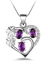 cheap -Women's Heart Synthetic Amethyst Rhinestone Crystal Imitation Diamond Pendant Necklace  -  Classic Fashion Purple Necklace For Party Daily