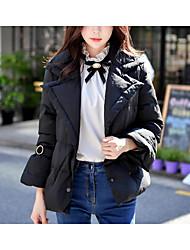 economico -Standard Piumino Da donna,Cappotto Vintage Moda città Sofisticato Ufficio Casual Tinta unita Poliestere Nylon Piumino in piuma d'oca