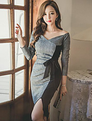 cheap -Women's Going out Sexy Street chic Sheath Knee-length Dress,Color Block V Neck Long Sleeves Fall High Rise