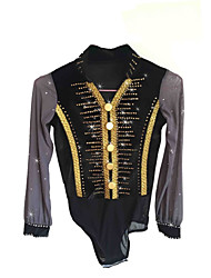 cheap -Figure Skating Top Men's Boys' Ice Skating Top Black Spandex Stretchy Skating Wear Sequin Long Sleeves Figure Skating