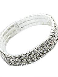 billige -Dame Manchetarmbånd - Simuleret diamant Mode Armbånd Sølv Til Daglig