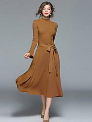 baratos -Mulheres Moda de Rua Bainha balanço Tricô Vestido - Pregueado, Sólido Colarinho Chinês Médio
