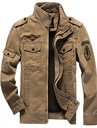 cheap -Men's Military Cotton Jacket - Solid Colored Stand