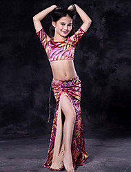 cheap -Belly Dance Outfits Performance Spandex Pattern / Print Short Sleeve Dropped Skirts Top