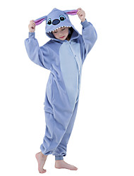 cheap -Kigurumi Pajamas Blue Monster / Cartoon Onesie Pajamas Costume Polar Fleece Blue Cosplay For Kid's Animal Sleepwear Cartoon Halloween